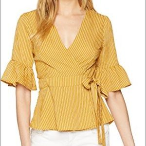J.O.A | Yellow Striped Ruffle Sleeve Wrap Blouse